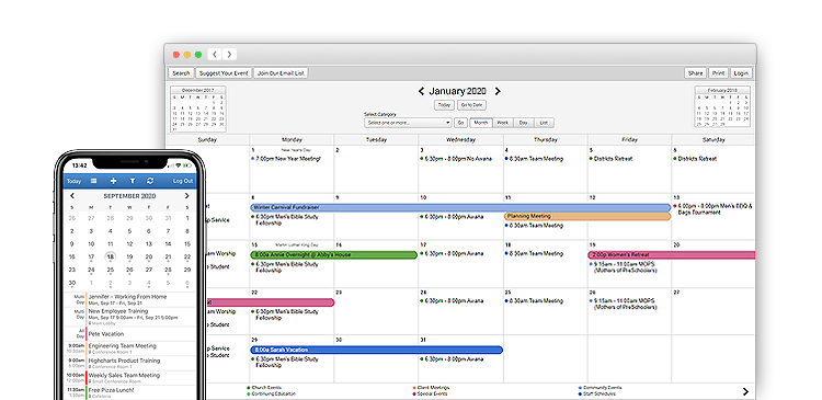 Shared calendar displayed on laptop and list of upcoming events displayed on phone